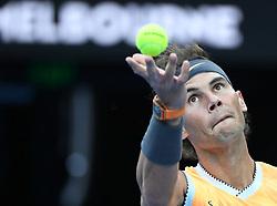 MELBOURNE, Jan. 27, 2019  Rafael Nadal of Spain serves during the men's singles final match between Novak Djokovic of Serbia and Rafael Nadal of Spain at 2019 Australian Open in Melbourne, Australia, Jan. 27, 2019. (Credit Image: © Lui Siu Wai/Xinhua via ZUMA Wire)