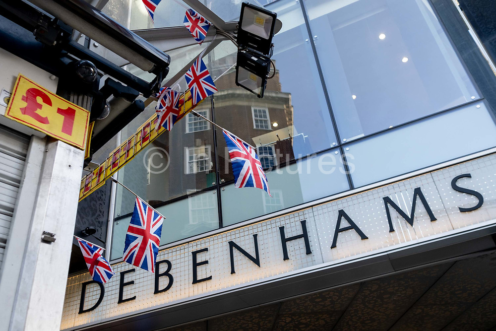 An exterior of the closed Debenhams department store in London's Oxford Street as the second lockdown of the Coronavirus pandemic comes to a end, and a day before London enters the Tier 2 restriction when retailers will be allowed to once again re-open for the run-up to Christmas, on 1st December 2020, in London, England. 12,000 jobs are said to be at risk after financial negotiations failed the day after Topshop owner Arcadia fell into administration.