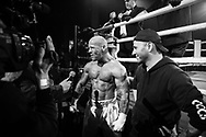 Ultimate bare-Knuckle boxing competition at Manchester's Bowlers Exhibition Centre, Old Trafford, Manchester, UK.<br /> Photo shows tLee McGarry being interviewed after his win against Stanley Hofstaedter.<br /> Photo ©Steve Forrest/Workers' Photos