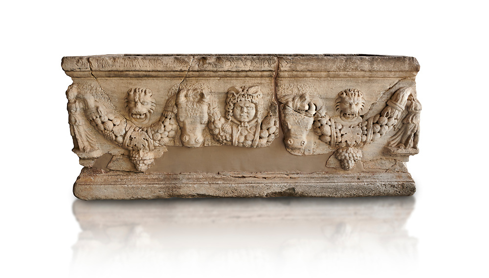 Roman relief garland sculpted sarcophagus.  Adana Archaeology Museum, Turkey. Against a white background .<br /> <br /> If you prefer to buy from our ALAMY STOCK LIBRARY page at https://www.alamy.com/portfolio/paul-williams-funkystock/greco-roman-sculptures.html . Type -    Adana     - into LOWER SEARCH WITHIN GALLERY box - Refine search by adding a subject, place, background colour, museum etc.<br /> <br /> Visit our ROMAN WORLD PHOTO COLLECTIONS for more photos to download or buy as wall art prints https://funkystock.photoshelter.com/gallery-collection/The-Romans-Art-Artefacts-Antiquities-Historic-Sites-Pictures-Images/C0000r2uLJJo9_s0