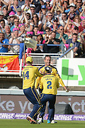 Sean Ervine and Hampshire Celebrate the wicket of Jos Buttler during the NatWest T20 Blast Semi Final match between Hampshire County Cricket Club and Lancashire County Cricket Club at Edgbaston, Birmingham, United Kingdom on 29 August 2015. Photo by David Vokes.