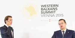 27.08.2015, Hofburg, Wien, AUT, Westbalkan Konferenz, Pressekonferenz der Aussenminister, im Bild v.l.n.r. Bundesminister für europaeische und internationale Angelegenheiten Sebastian Kurz und Außenminister Serbien Ivica Dacic // f.l.t.r. Foreign Minister of Austria Sebastian Kurz and Foreign Minister of Serbia Ivica Dacic during press conference of the foreign ministers during Western Balkans Summit at Hofburg in Vienna, Austria on 2015/08/27, EXPA Pictures © 2015, PhotoCredit: EXPA/ Michael Gruber