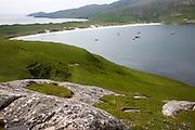 Isthmus between sandy beaches, Vatersay Bay, Barra, Outer Hebrides, Scotland, UK