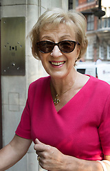 © Licensed to London News Pictures. 16/07/2018. London, UK. Andrea Leadsom arrives at TV studios near Parliament. Photo credit: Peter Macdiarmid/LNP