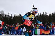 Martin Fourcade (FRA) at the  Men 15 Km Mass Start during the IBU Biathlon World Championships, Sunday, Feb. 23, 2020, in Antholtz-Anterselva, Italy. (Pierre Teyessot-ESPA-Images/Image of Sport)