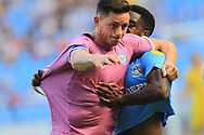 Ian Henderson is challenged during the EFL Sky Bet League 1 match between Coventry City and Rochdale at the Ricoh Arena, Coventry, England on 1 September 2018.