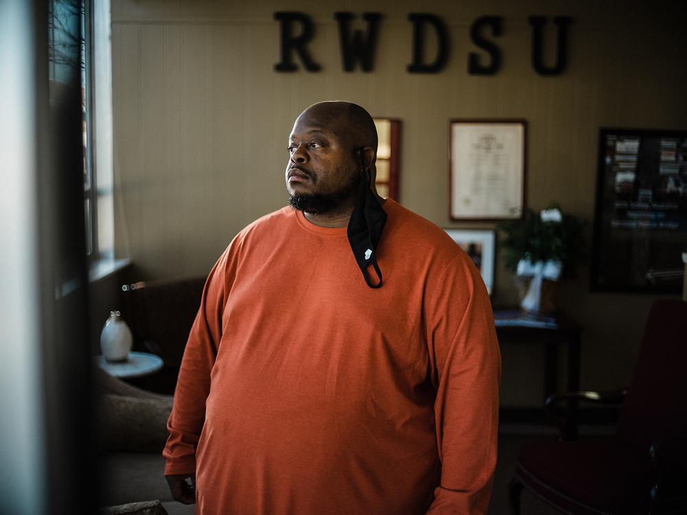 BIRMINGHAM, AL – MARCH 20, 2021: Union member organizer Michael Foster stands at the RWDSU Union Hall in Birmingham's Southside. If union organizers are successful, the BHM1 fulfillment center in Bessemer will become the first unionized Amazon warehouse in the country. CREDIT: Bob Miller for Le Monde