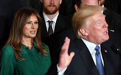 U.S. President Donald Trump speaks as First Lady Melania Trump looks on during a ceremony to welcome the Stanley Cup Champions, The Pittsburgh Penguins to the White House Oct. 10, 2017 in Washington D.C.. Photo by Olivier Douliery/ Abaca Press