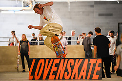© Licensed to London News Pictures. 20/07/2019. LONDON, UK.  A keen skateboarder performs their moves at the Southbank Undercroft skate park which has re-opened today after a GBP1.1m facelift and extension.  Known as the 'home of British skateboarding', improved lighting, concrete banks and a 426m extension allows more people to use the free facility.  Photo credit: Stephen Chung/LNP
