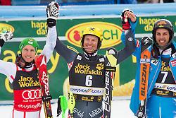 Second placed HIRSCHER Marcel  of Austria, winner KOSTELIC Ivica  of Croatia and third placed MATT Mario  of Austria celebrate  after the 10th Men's Slalom - Pokal Vitranc 2013 of FIS Alpine Ski World Cup 2012/2013, on March 10, 2013 in Vitranc, Kranjska Gora, Slovenia. (Photo By Vid Ponikvar / Sportida.com)