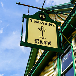 Lititz, PA, USA - August 21, 2020: The Tomato Pie Cafe is a popular eatery and tourist attraction in the downtown area.