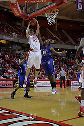 17 November 2010: Jon Ekey gets hacked on a rebound by Chris Conner during an NCAA basketball game between the Tennessee State Tigers and the Illinois State Redbirds at Redbird Arena in Normal Illinois.