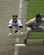 July 1, 2001 - Cleveland, Ohio - Cleveland Indians second baseman Roberto Alomar slides head-first into first base in a MLB game against the Kansas City Royals at Jacobs Field in Cleveland Ohio. Alomar was elected to the National Baseball Hall of Fame on Jan. 6, 2011.