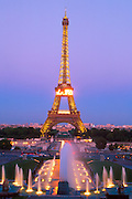 FRANCE, PARIS, CITY CENTER Eiffel Tower, built by Gustave Eiffel  in 1889; 300 meters tall; above the fountains of the Jardins du Trocadero