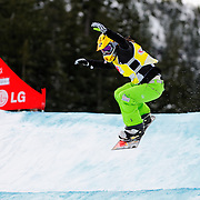 Snowboard-Cross racer Mellie Francon (SUI) leads small-final race action at the 2009 LG Snowboard FIS World Cup on February 13th, 2009 at Cypress Mountain, British Columbia. Mellie Francon's race win was enough to secure fifth place overall for the event. Mandatory Photo Credit: Bella Faccie Sports Media\Thomas Di Nardo. Contact: Thomas Di Nardo, Snohomish, Washington, USA. Telephone 425-260-8467. e-mail: tom@bellafaccie.com