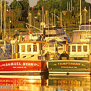 Camden Harbor in the morning as seen from the Wayfarer Marina. Camden, Maine