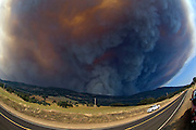 Bear Valley, California, July 26, 2008-Telegraph Fire near Yosemite National Park.Smoke rises over Mount Bullion and Fremont Ridge.  Image taken from Highway 49. Between Mt. Bullion and Bear Valley..Photo by Al GOLUB/Golub Photography.