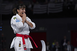 November 10, 2018 - Madrid, Spain - Sandra Sanchez of Spain competes during Women's Individual Kata gold medal match against Kiyou Shimizu (not seen) of Japan within the 24th Karate World Championships in Madrid, Spain on November 10, 2018  (Credit Image: © Oscar Gonzalez/NurPhoto via ZUMA Press)