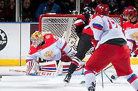 KELOWNA, CANADA - NOVEMBER 9: Maxim Tretiak #20 of Team Russia defends the net against the Team WHL on November 9, 2015 during game 1 of the Canada Russia Super Series at Prospera Place in Kelowna, British Columbia, Canada.  (Photo by Marissa Baecker/Western Hockey League)  *** Local Caption *** Maxim Tretiak;