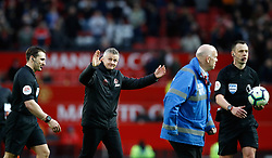 Manchester United Ole Gunnar Solskjaer reacts after the final whistle during the Premier League match at Old Trafford, Manchester.