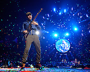 WASHINGTON, DC - July 9th, 2012 - Jonny Buckland of Coldplay performs at the Verizon Center in Washington, D.C. The band's 2011 album, Mylo Xyloto, reached number one in thirty countries. (Photo by Kyle Gustafson/For The Washington Post)