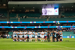 March 23, 2019 - Sydney, NSW, U.S. - SYDNEY, NSW - MARCH 23: Both teams in a huddle for a minute silence to remember the victims of Christchurch and Manu Sutherland at round 6 of Super Rugby between NSW Waratahs and Crusaders on March 23, 2019 at The Sydney Cricket Ground, NSW. (Photo by Speed Media/Icon Sportswire) (Credit Image: © Speed Media/Icon SMI via ZUMA Press)
