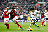 Hector Bellerin of Arsenal (R) in action with Son Heung-min of Tottenham Hotspur (L). remier league match, Tottenham Hotspur v Arsenal at Wembley Stadium in London on Saturday 10th February 2018.<br /> pic by Steffan Bowen, Andrew Orchard sports photography.