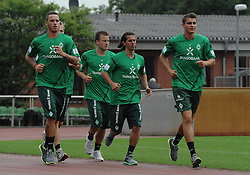 29.06.2011, Platz 11, Bremen, GER, 1.FBL, Laktattest Werder Bremen, im Bild Marko Arnautovic (Bremen #7), Philipp Bargfrede (Bremen #44), Aleksandar Stevanovic (Bremen), Sebastian Mielitz (Bremen #21)   // during the training session from Werder Bremen    EXPA Pictures © 2011, PhotoCredit: EXPA/ nph/  Frisch       ****** out of GER / CRO  / BEL ******