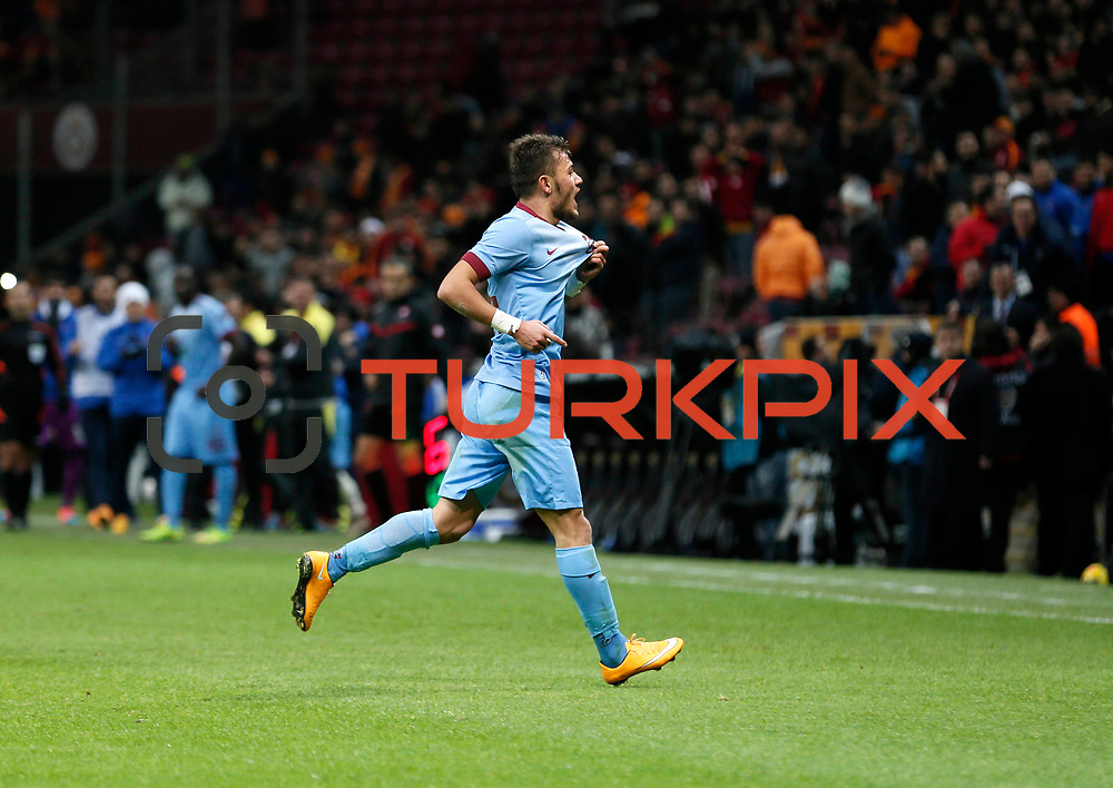Trabzonspor's Yusuf Erdogan celebrate his goal during their Turkish superleague soccer derby match Galatasaray between Trabzonspor at the AliSamiYen spor kompleksi TT Arena in Istanbul Turkey on Saturday, 22 November 2014. Photo by Aykut AKICI/TURKPIX