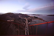 Golden Gate Bridge, San Francisco, California. View of Marin County from the north tower.