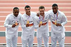 Chijindu Ujah, Adam Gemili, Daniel Talbot and Nethaneel Mitchell-Blake of Great Britain pose with their gold medals - Mandatory byline: Patrick Khachfe/JMP - 07966 386802 - 13/08/2017 - ATHLETICS - London Stadium - London, England - Men's 4x100m Metres Relay Medal Ceremony - IAAF World Championships