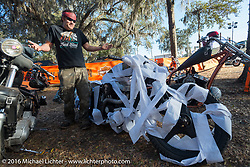 Brad Gregory's bike got TP'd by friends after Harley Davidson's Editor's Choice Bike Show at the Broken Spoke Saloon during Daytona Bike Week 75th Anniversary event. FL, USA. Wednesday March 9, 2016.  Photography ©2016 Michael Lichter.