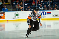 KELOWNA, BC - OCTOBER 16: Referee Sean Raphael enters the ice at the Kelowna Rockets against the Swift Current Broncos at Prospera Place on October 16, 2019 in Kelowna, Canada. (Photo by Marissa Baecker/Shoot the Breeze)