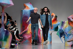 Designers Fyodor Podgorny and Golan Frydman greet the public after the Fyodor Golan Autumn/Winter 2017 London Fashion Week show at BFC Show Space, London. PRESS ASSOCIATION. Picture date: Friday February 17, 2017. Photo credit should read: Isabel Infantes/PA Wire