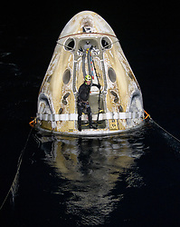 Support teams work around the SpaceX Crew Dragon Resilience spacecraft shortly after it landed with NASA astronauts Mike Hopkins, Shannon Walker, and Victor Glover, and Japan Aerospace Exploration Agency (JAXA) astronaut Soichi Noguchi aboard in the Gulf of Mexico off the coast of Panama City, Florida, Sunday, May 2, 2021. NASA's SpaceX Crew-1 mission was the first crew rotation flight of the SpaceX Crew Dragon spacecraft and Falcon 9 rocket with astronauts to the International Space Station as part of the agency's Commercial Crew Program. Photo by Bill Ingalls / NASA via CNP /ABACAPRESS.COM
