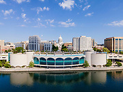 Aerial photograph of Madison, Wisconsin, USA. Monona Terrace Convention Center and the State Capitol.