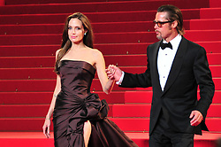 Angelina Jolie and Brad Pitt leaving after the screening of the film 'The Tree of Life' presented in competition in the Feature Films section as part of the 64th Cannes International Film Festival, at the Palais des Festivals in Cannes, southern France on May 16, 2011. Photo by Hahn-Nebinger-Genin/ABACAPRESS.COM