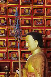 Asia, Nepal, Solu Khumbu region, Tengboche Monastery, Gold Buddha statue and ancient prayer books wrapped in silk