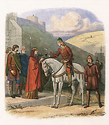 Edward (Eadward) the Martyr (963?-978) English king from 975, at Corfe, offered poisoned drink by his stepmother Aelfthryth. Anglo-Saxon. Colour-printed wood engraving c1860.