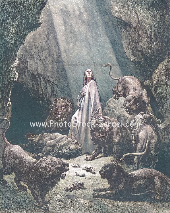 Machine Colourized (AI) Daniel in the Den of Lions Daniel 6:20-21 From the book 'Bible Gallery' Illustrated by Gustave Dore with Memoir of Dore and Descriptive Letter-press by Talbot W. Chambers D.D. Published by Cassell & Company Limited in London and simultaneously by Mame in Tours, France in 1866