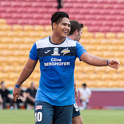 BRISBANE, AUSTRALIA - MARCH 25: Mustafa Jafari of SWQ Thunder celebrate a goal during the round 5 NPL Queensland match between the Brisbane Roar and SWQ Thunder at Suncorp Stadium on March 25, 2017 in Brisbane, Australia. (Photo by Patrick Kearney/Brisbane Roar)