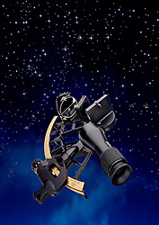Modern Sextant with night stary sky