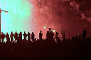 Great Chicago Fire Festival on Saturday, October 4, 2014. Spectators watch fireworks finale from the Wabash Avenue bridge.