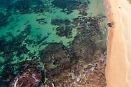 Aerial view of beautiful Shelly Beach & underwater reef offshore, Caloundra, Sunshine Coast, Queensland, Australia