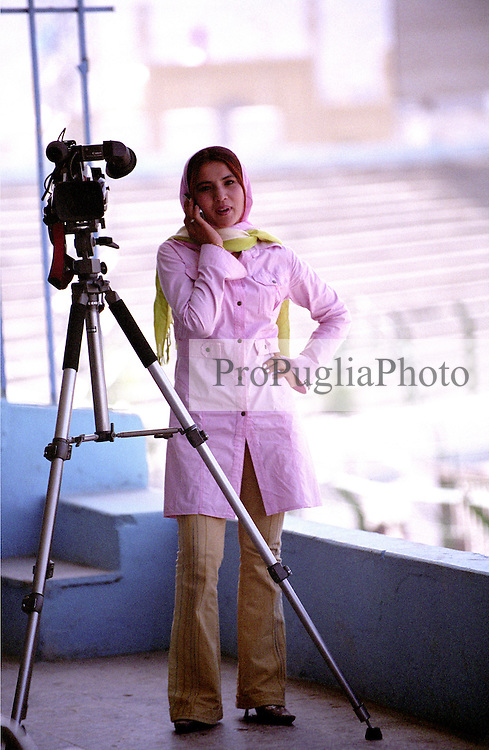 Iranian journalist covering the Olympics games at ghazi Stadium