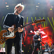 COLUMBIA, MD - June 6th,  2013 -   Bryce Dessner and Matt Berninger of The National perform on a rainy night at Merriweather Post Pavilion in Columbia, MD.  The band just released their sixth studio album, Trouble Will Find Me, which debuted at No. 3 on both the US and UK album charts. (Photo by Kyle Gustafson/For The Washington Post)