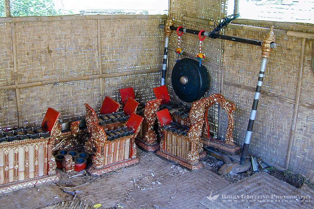 Bali, Gianyar, Goa Gajah. Gamelan music instruments.