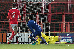 WREXHAM, WALES - Thursday, November 10, 2016: Theodoros Mingos  scores for Greece during the UEFA European Under-19 Championship Qualifying Round Group 6 match at the Racecourse Ground against Wales. (Pic by Gavin Trafford/Propaganda)