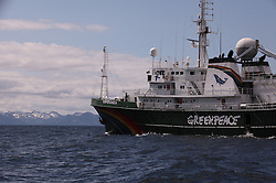 USA ALASKA 26JUN12 - The Greenpeace ship Esperanza off the Kodiak island coast, Alaska.....The Alaskan Arctic Expedition highlights the need to save the Arctic from attempts by oil companies to exploit the regionâ??s resources for short term profit. The MY Esperanza will document what's at stake in the region whilst committing to a wider objective of protecting the Arctic and creating a sanctuary around the North Pole...Photo by Jiri Rezac / Greenpeace