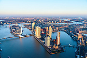 Nederland, Zuid-Holland, Rotterdam, 07-02-2018; Centrum Rotterdam in winters avondlicht, bij zonsondergang. Kop van Zuid (Wilhelminakade) met Rijnhaven, Nieuwe Maas en Erasmusbrug, Noordereiland.<br /> City centre Rotterdam, Head of (the) South with highrise buildings.<br /> <br /> South Rotterdam, with former harbour quarter Katendrecht.<br /> luchtfoto (toeslag op standard tarieven);<br /> aerial photo (additional fee required);<br /> copyright foto/photo Siebe Swart